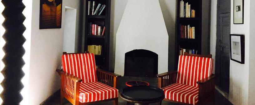 Red NM india patta stripe fabric in Olmassi junior suite