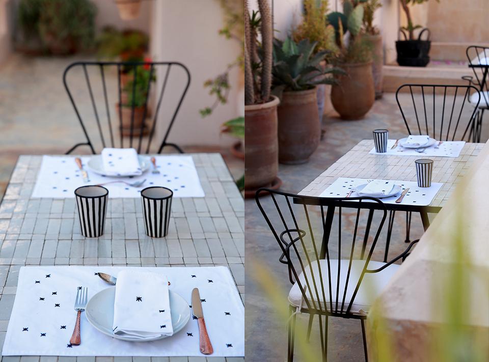Dar Kawa the terrace table setting hand embroidered table linen V.Barkowski
